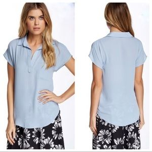Anthropologie Pleione Spread Collar Blouse Blue M